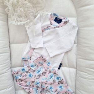 body kopertowe błękitne kwiatuszki lamówka